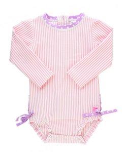 Baby zwempakje lange mouw  streep pink lila 56-92.