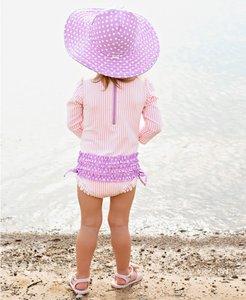 Zwemhoed / Zonnehoed lila Wit omkeerbaar