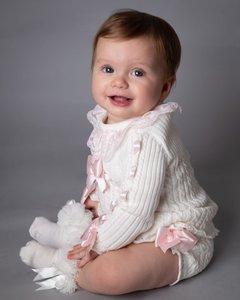 Spaanse baby mode Tricot jurk met broekje ivoor Roze NEW Style