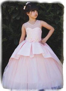 Bruidsmeisje jurk Communie Peach strik 98-146