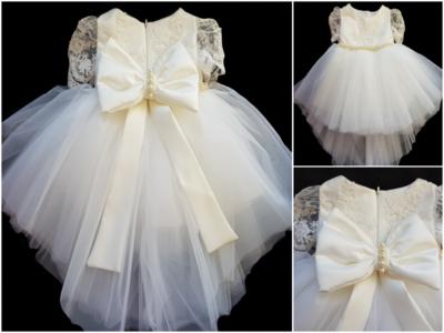 Doopjurk en bruiloft jurk Handmade Dream Chiffon Luxe kant Parel Ivoor maat 56 tm 176
