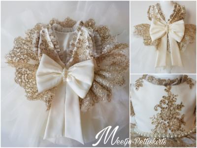 Ultra luxe feestjurk doop en bruiloft jurk Handmade Ivoor gouddraad maat 56 tm 176