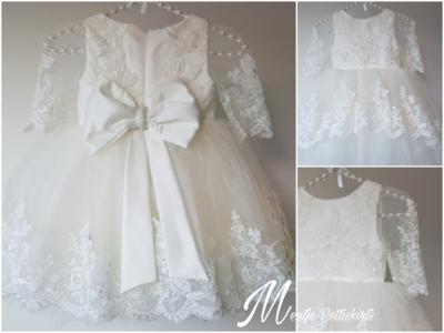 Bruidsmeisje jurk & Doop jurk Pearl Luxe kant Ivoor maat 56 tm 176