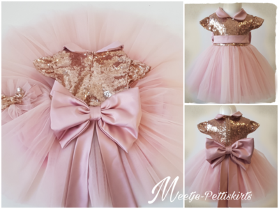 Meisjes Feestjurk Grote strik Luxe Vintage Roze Handmade