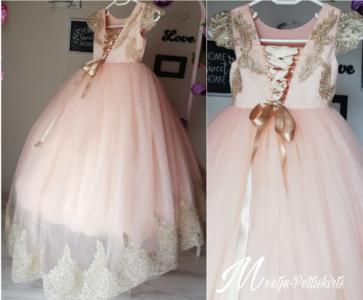 Communie jurk roze goud met sleep Handmade Ultra Luxe