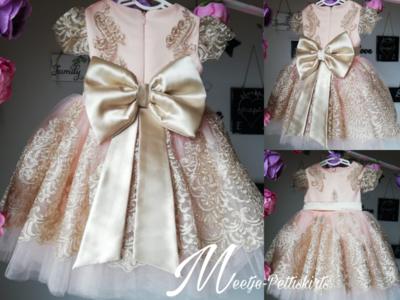 Bruidsmeisjesjurk - communie jurk Luxe Handmade roze licht goude strik maat 56 tm 176