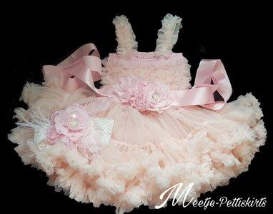 Feestjurk Pettidress By Meetje baby Pink luxe 3delig Romantic Flower