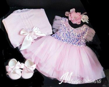 Gehele set Baby feestjurk roze Compleet 4 delig