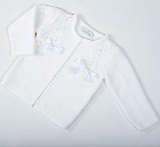Vest Meisje knit Luxe wit Satijnen strik New