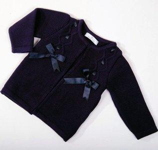 Vest Meisje knit Luxe blauw Satijnen strik New