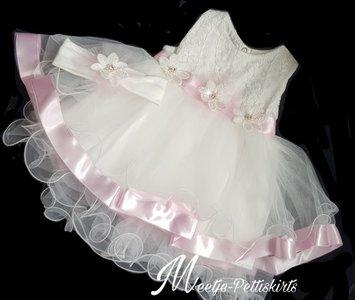 Babyjurk wit roze sparkel met haarband