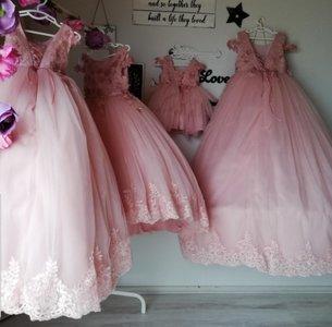 Communie jurk & Bruiloft meisje Oud Roze  + Grote strik Ultra Luxe Alle maten