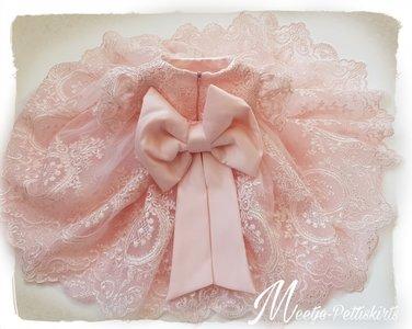 Licht roze feestjurk Ultra luxe Handmade Kant 56 tm 176
