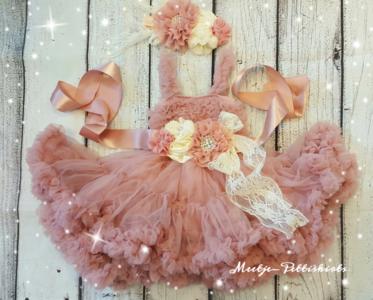 Luxe Feestjurk Pettidress By Meetje Dusty Pink Cream Crystal Flower 56-158,