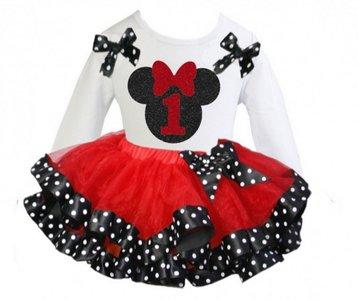 Minnie Mouse tutu verjaardag set nummer 1 lange mouw
