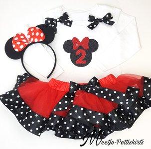 Minnie Mouse tutu 2 jaar verjaardag set lange mouw