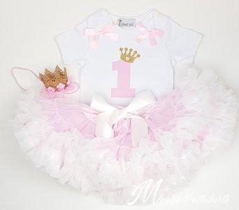 Verjaardag set roze wit 1 jaar met kroontje