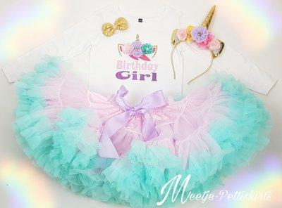 Unicorn verjaardag set Birthday girl De luxe 3 delig