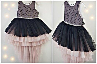 feestjurk zwart roze 86-140 + Diadeem