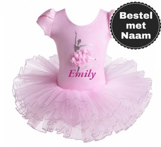 Balletpakje Daisy Ballerina Roze Tutu Met NAAM maat 98-140