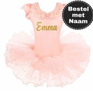 Balletpakje romantic peach Tutu Met NAAM maat 98-140