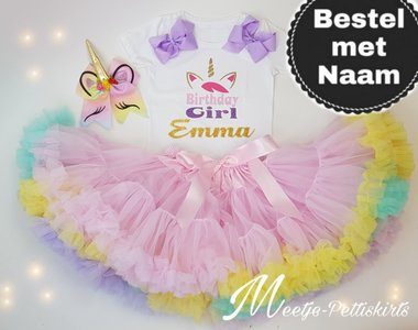 Unicorn set roze rainbow De luxe 3 delig Eigen Naam