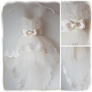 Bruiloft jurk Baby & Meisje met sleep Ivoor Handgemaakt