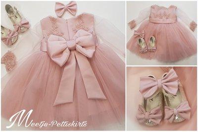 Feestjurk lange mouw Luxe kant oud roze maat 56 tm 176 Handmade