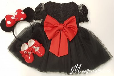 Feestjurk zwart  met rode strik Minnie Mouse Style Luxe  Handmade maat 56 tm 176