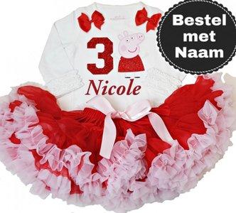 Petticoat Verjaardagset Peppa Big lange mouw nummer 1 tm 6 jaar + Naam