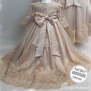 Lange feestjurk voor Bruidsmeisje en Communie Luxe Handmade Lange mouw maat 56 tm 176