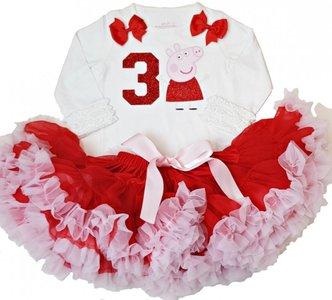 Petticoat Verjaardagset Peppa Big lange mouw nummer 1 tm 6 jaar