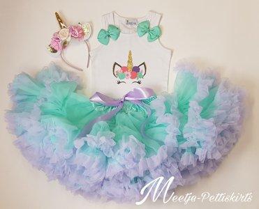 Unicorn outfit mint lila flower De luxe 3 delig