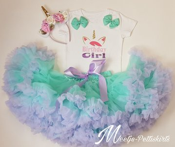 Unicorn outfit Birthday Girl mint lila flower De luxe 3 delig Korte of lange mouw
