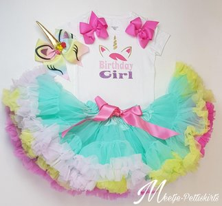 Unicorn outfit Birthday Girl mint rainbow De luxe 3 delig Lange of Korte Mouw