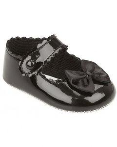 zwart babyschoentjes met strikje
