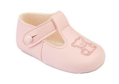 Babyschoentjes Roze met beertje