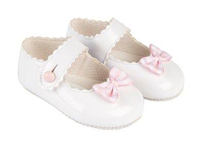 Baby schoentjes wit roze met strikje