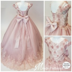 Communie jurk & Bruiloft meisje Oud Roze met ivoor top  + Grote strik Ultra Luxe Alle maten
