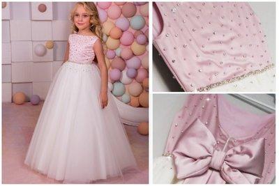 Prinsessenjurk roze met diamantjes en ivoor tulle Handmade NEW