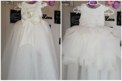 Communie jurk kant & Bruidsmeisjes jurk ivoor Ultra Luxe handmade 56 tm 176 NEW