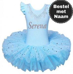 Balletpakje blauw tutu Sparkle Style Met NAAM maat 92-140 NEW