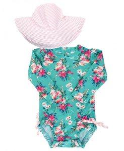 badpak + hoed lange mouw UV bescherming Fancy Me Floral maat 50 tm 104 NEW