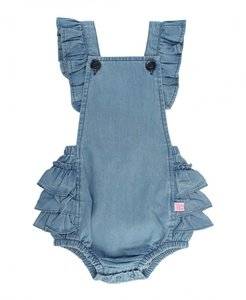 Jeans Gingham Cross-Back Ruffle Romper