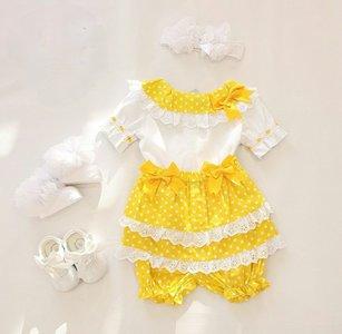 Setje Top met pofbroekje geel Spanisch Style Girly  + eventuele accessoires NEW