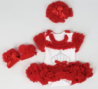 Baby tutu romper jurkje Rood + eventuele accessoires NEW.