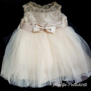 baby jurk Feest & Bruiloft Luxe Classic Couche Tot Champagne 0-24 maanden.