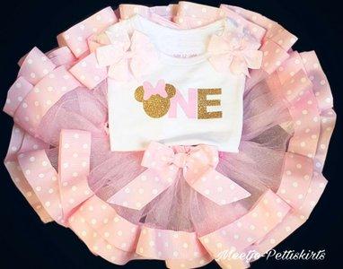 Minnie Mouse Verjaardag Tutu set roze 1 jaar Met of zonder naam