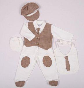 Baby Boxpakje Kostuum Onesie 4delig Bruin
