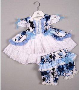 Jurkje brocant blauw Spanisch Style Girly  + Bloomer broekje NEW 0 tm24m